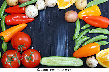 Fresh vegetables with copy space. - Top view of vegetables...