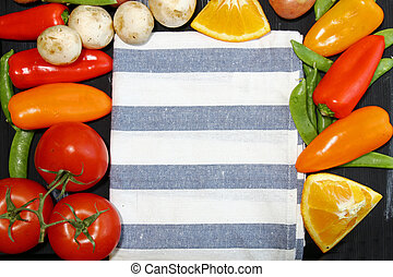 Vegetables with napkin - Top view of vegetables like...