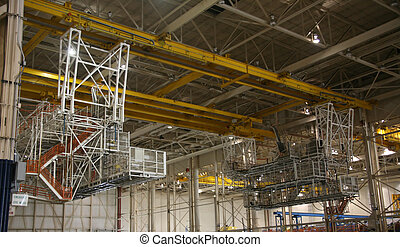 Overhead Crane in Factory - Inside Aerospace Manufacturing...
