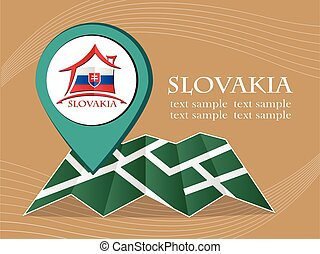 map with pointer flag Slovakia vector illustration eps 10.