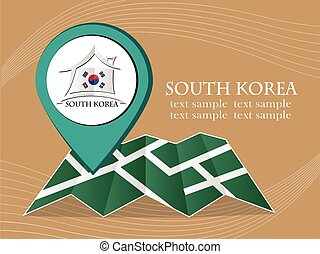 map with pointer flag South Korea vector illustration eps...