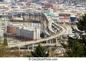 Interstate Freeway over Marquam bridge in Portland - Marquam...