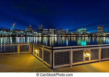 Portland Skyline from Eastbank Esplanade at Night - Portland...