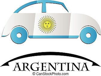 car icon made from the flag of argentina