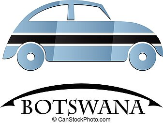 car icon made from the flag of Botswana