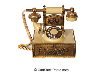 Antique Telephone Isolated on White Background