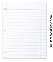 Blank Piece of School Lined Paper on White With a Drop...