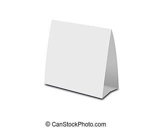 Blank White Table Tent on white. Paper vertical cards...