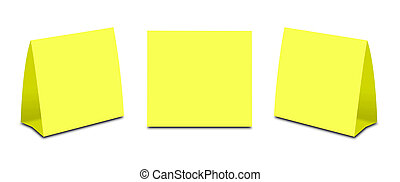 Blank Yellow Table Tent on white. Paper vertical cards...