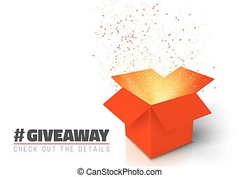 Vector Red Gift Box Isolated on White Background