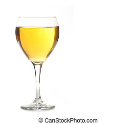 Golden Ale or Champagne Alcohol in Wine Glass Isolated on...