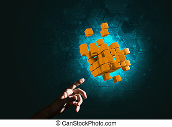 Idea of new technologies and integration presented by cube figure