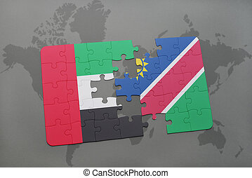 puzzle with the national flag of united arab emirates and...