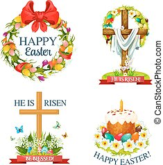 Vector paschal Easter isolated icons set - Easter paschal...