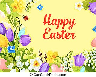 Easter spring flowers paschal eggs vector greeting - Happy...