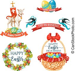 Vector icons and paschal symbols for Easter design - Easter...