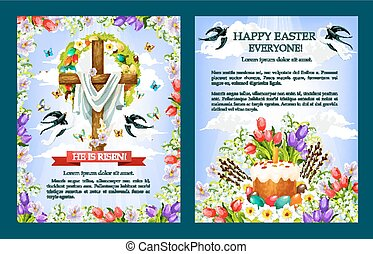 Easter vector crucifix cross, paschal cake poster - Easter...