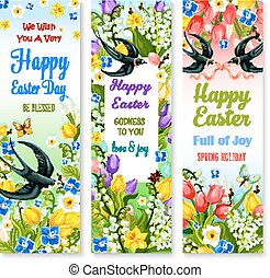 Easter holidays floral banner with flower and bird