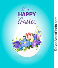 Easter spring flowers paschal egg vector greeting - Happy...