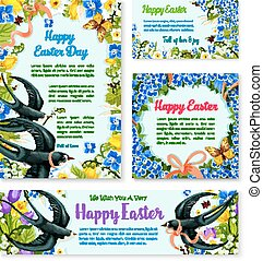 Easter banner template with spring birds, flowers