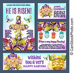 Easter floral cross with egg banner template