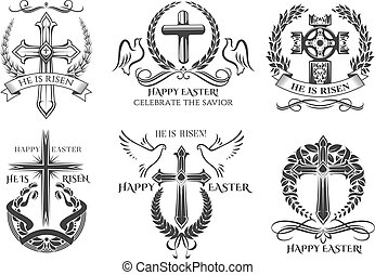 Easter symbol crucifix for vector paschal greeting - Easter...