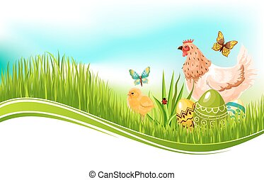 Easter vector template of paschal eggs and chicken - Easter...