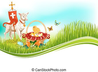 Easter paschal eggs and lamb vector greeting card
