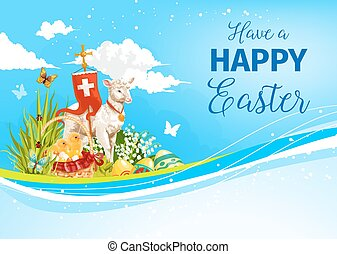 Easter paschal passover lamb vector greeting card - Happy...