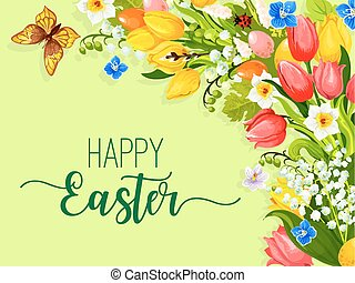 Easter paschal flowers wreath eggs vector greeting - Paschal...