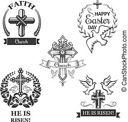 Easter holiday sign set with cross and dove