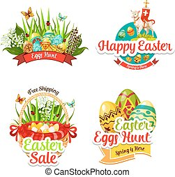Vector icons and paschal stickers for Easter sale - Easter...
