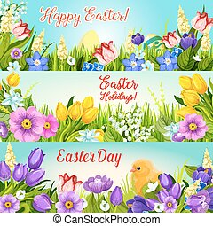Easter banners paschal egg, flowers vector set - Happy...