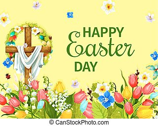 Easter Day greeting card with cross, egg, flower
