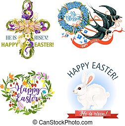 Paschal Easter holiday vector icons and symbols - Easter...