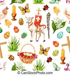 Vector Easter seamless pattern paschal symbols - Easter...