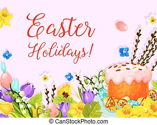 Easter paschal cake egg, willow flower vector card - Happy...