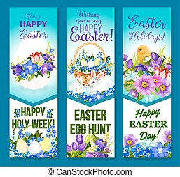 Vector Easter banners pashcal eggs and flowers - Happy...