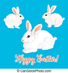 Vector icon of paschal bunny hare or Easter rabbit - Happy...