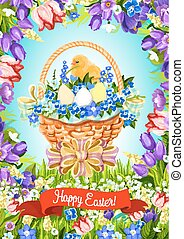 Easter paschal eggs basket vector greeting card - Happy...