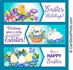 Vector Easter banners of pashcal greetings - Easter Holiday...