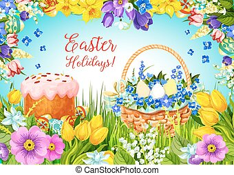 Easter paschal cake, eggs, flowers vector greeting - Happy...