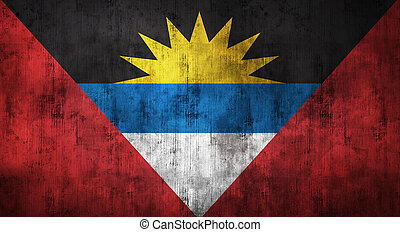 Grunge crumpled Antigua and Barbuda flag. 3d rendering -...