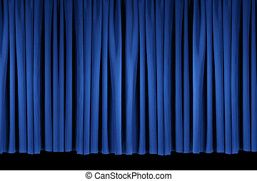 Bright Blue Stage Theater Drapes - Flat Panel of Blue Stage...