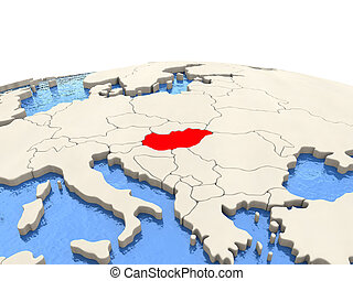 Hungary on globe with watery seas - Hungary highlighted in...