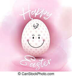 Easter egg on a watercolour background - Cute Easter egg on...