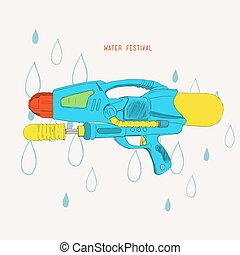 Vector hand drawn sketch for Songkran festival in Thailand....
