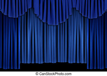Bright Blue Curtain Drape Background - Blue Theater Stage...