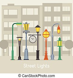 Street Lamps and Lamp Posts Banner - Banner with street...