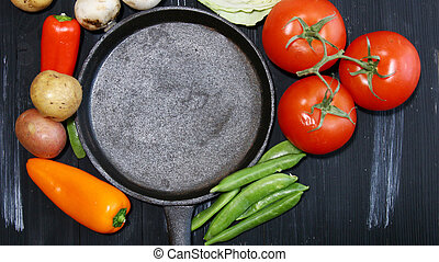 Fresh vegetables with copy space. - Top view of fresh...